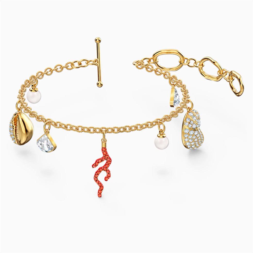 Swarovski Shell Coral Bracelet, Red, Gold-tone plated Κόκκινο 3