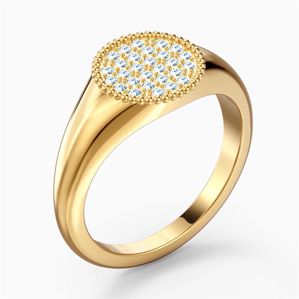 Swarovski Ginger Signet Ring, White, Gold-tone plated 2