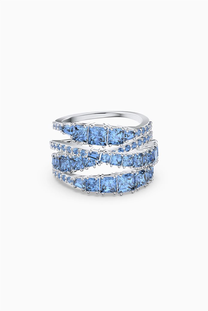 Swarovski Twist Wrap Ring, Blue, Rhodium plated Μπλε 0
