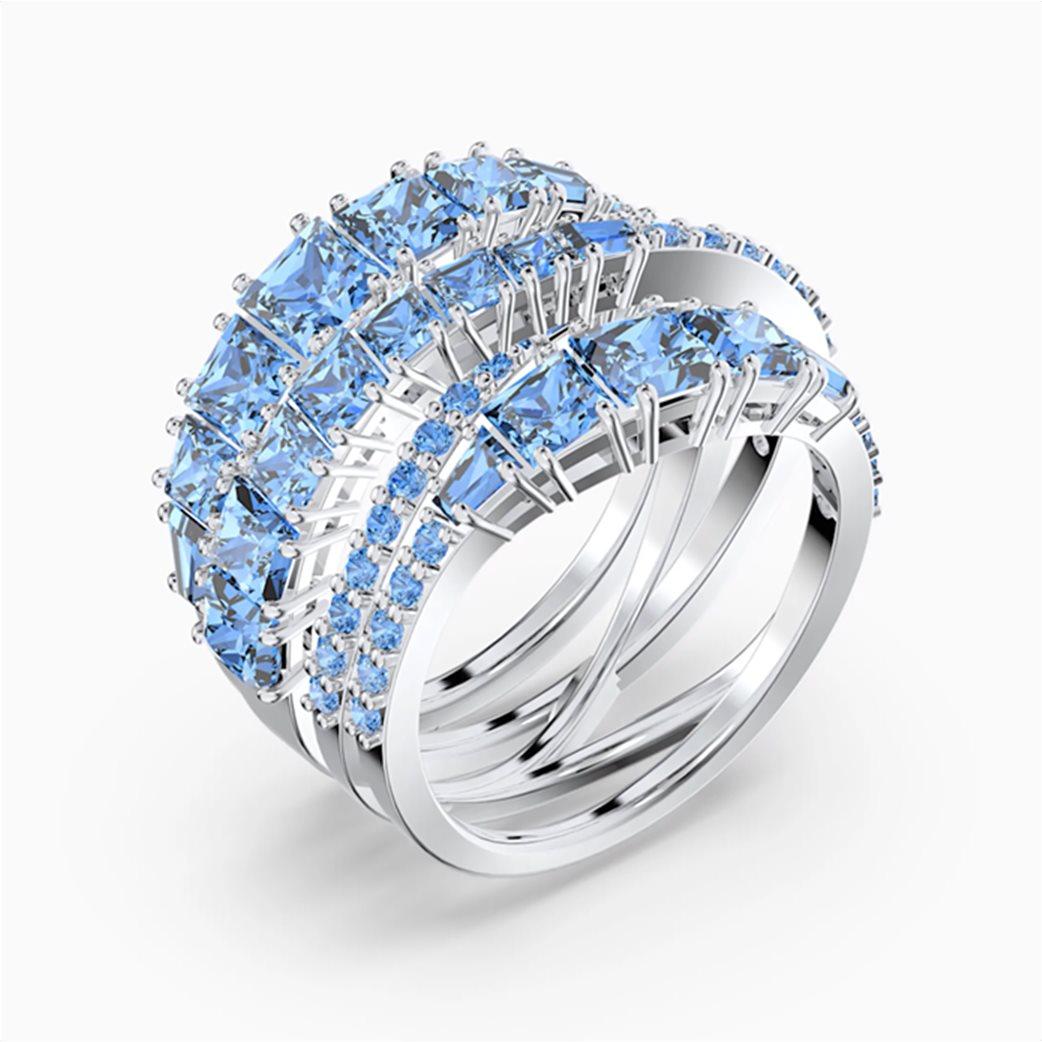 Swarovski Twist Wrap Ring, Blue, Rhodium plated Μπλε 2
