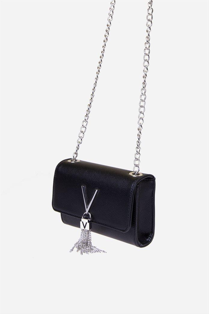 Valentino by Mario Valentino γυναικεία τσάντα ώμου με μεταλλικό logo και αλυσίδα 2