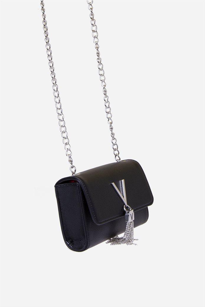 Valentino by Mario Valentino γυναικεία τσάντα ώμου με μεταλλικό logo και αλυσίδα 3