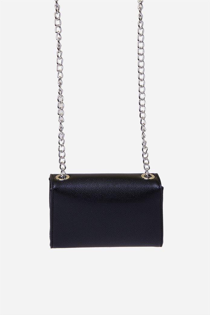Valentino by Mario Valentino γυναικεία τσάντα ώμου με μεταλλικό logo και αλυσίδα 4