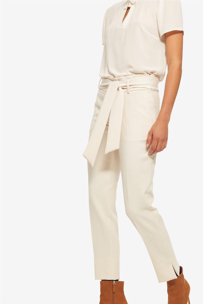 Lucifair γυναικείο μονόχρωμο παντελόνι σε ίσια γραμμή με αφαιρούμενη ζώνη 1