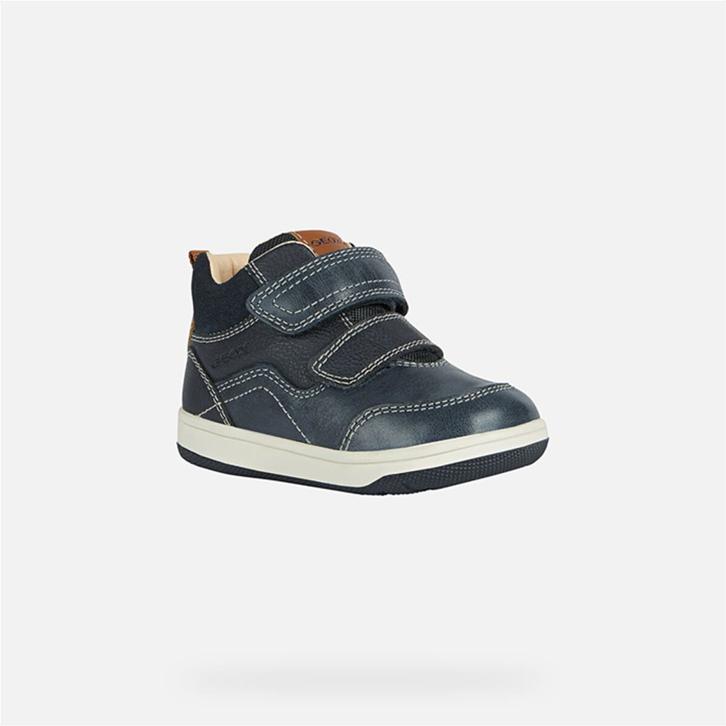 Geox παιδικά sneakers με suede λεπτομέρεια Μπλε Σκούρο 2