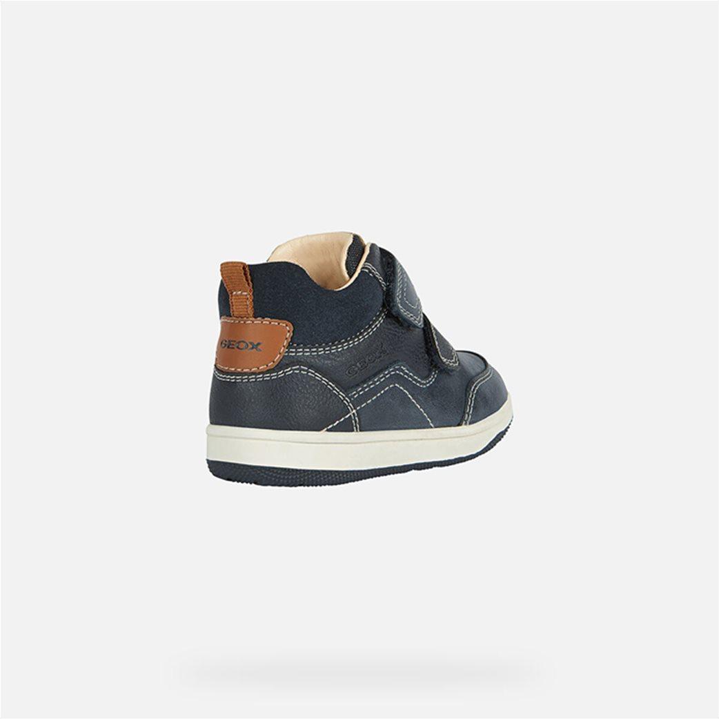 Geox παιδικά sneakers με suede λεπτομέρεια Μπλε Σκούρο 4