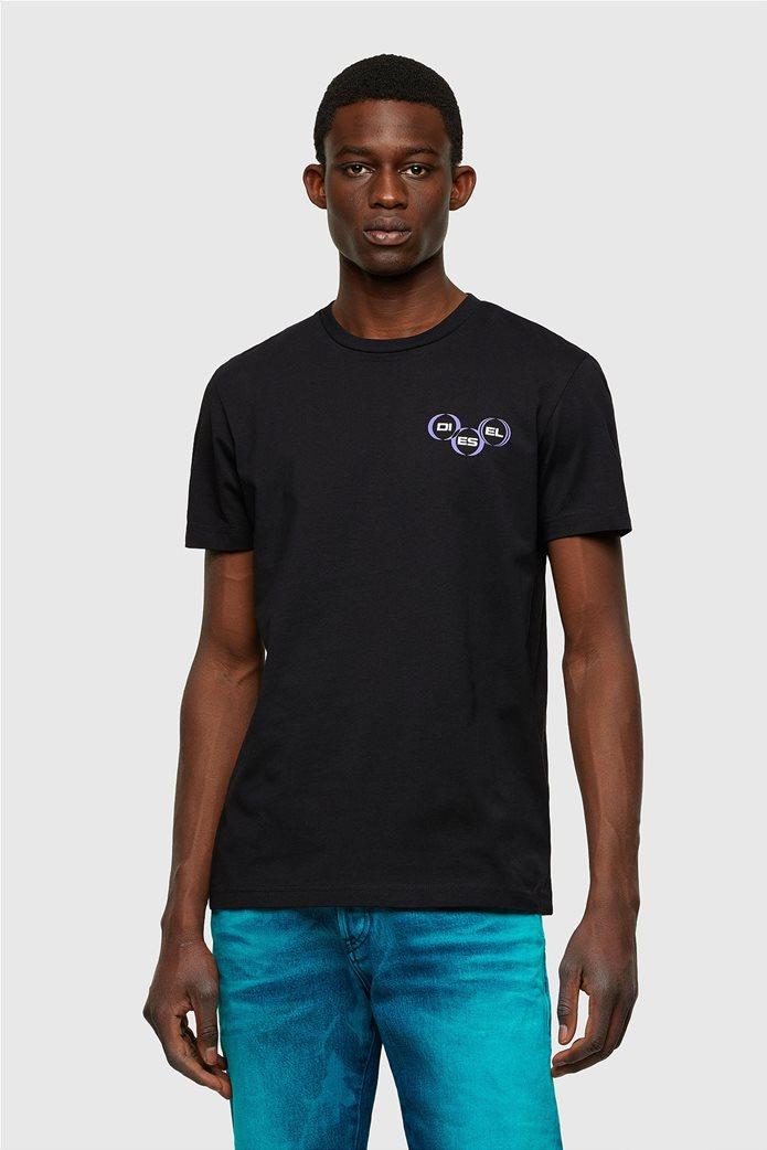 "Diesel ανδρικό T-shirt με logo print ""T-Diegos-K41"" Μαύρο 0"