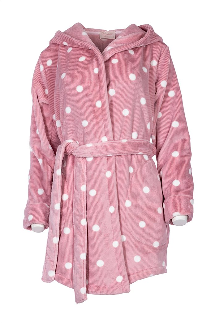Pink Label γυναικεία fleece ρόμπα με πουά σχέδιο και κουκούλα 0