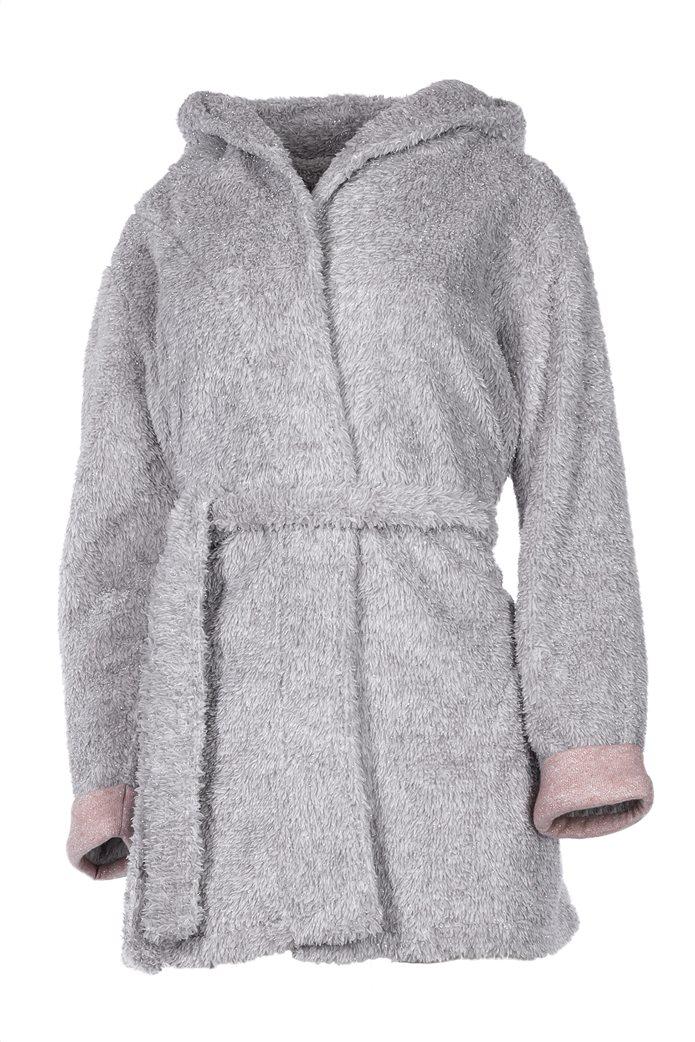 Pink Label γυναικεία fleece ρόμπα με glitter και κουκούλα με αυτάκια 0
