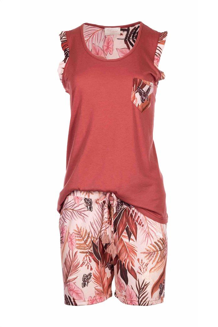 Pink Label γυναικεία πιτζάμα με tropical print Κεραμιδί 0