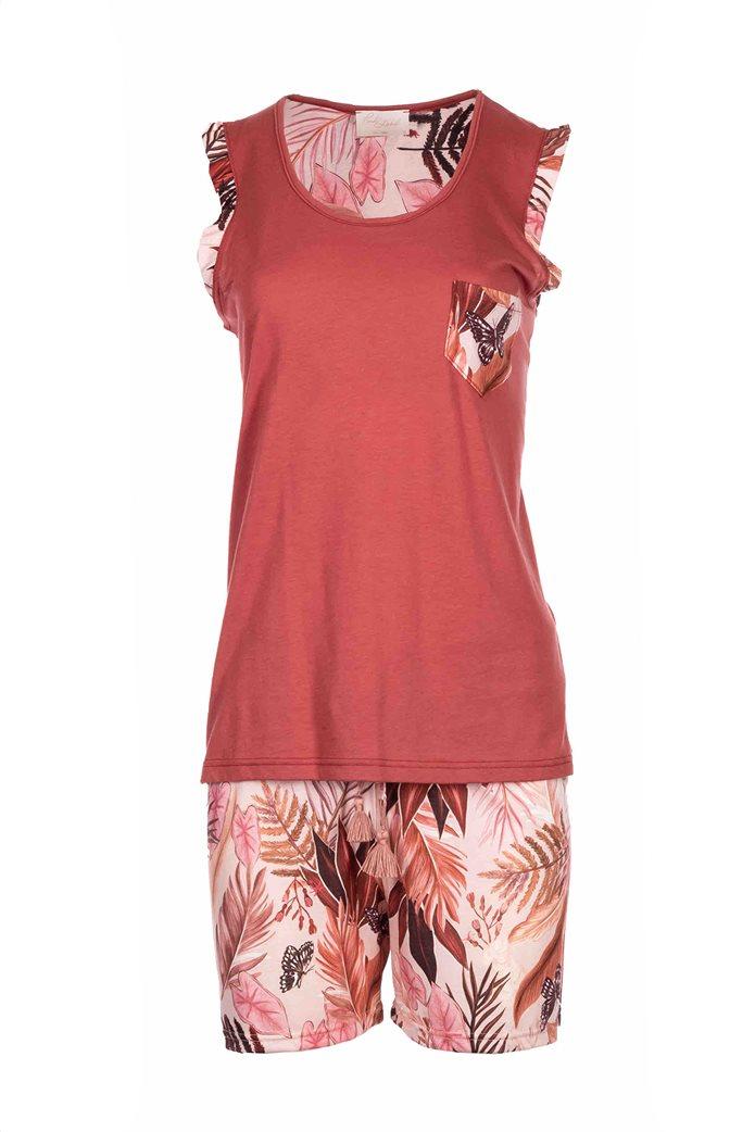 Pink Label γυναικεία πιτζάμα με tropical print Κεραμιδί 1