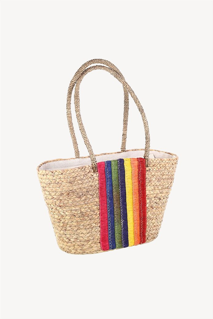 6ade9f68b3 Kbas γυναικεία ψάθινη τσάντα με πολύχρωμα κεντήματα 0