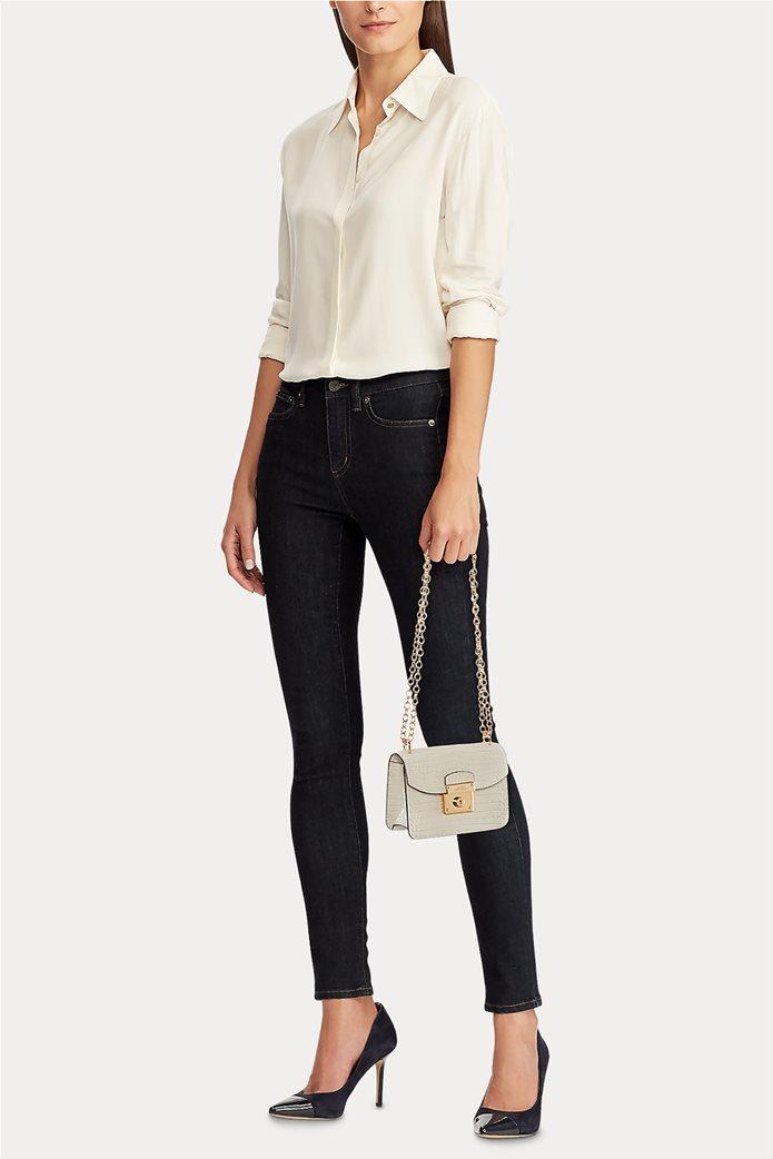 """Lauren Ralph Lauren γυναικεία croco crossbody τσάντα με αλυσίδα """"Mini Beckett Satchel"""" 1"""