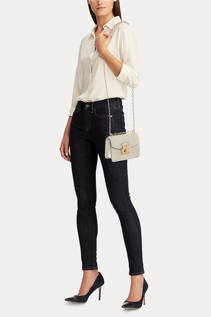 """Lauren Ralph Lauren γυναικεία croco crossbody τσάντα με αλυσίδα """"Mini Beckett Satchel"""" 4"""