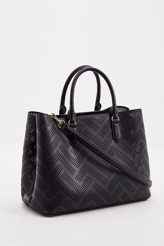 Lauren Ralph Lauren γυναικεία δερμάτινη τσάντα χειρός με διάτρητο σχέδιο Μαύρο 1