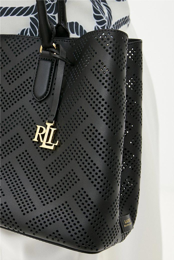 Lauren Ralph Lauren γυναικεία δερμάτινη τσάντα χειρός με διάτρητο σχέδιο Μαύρο 2