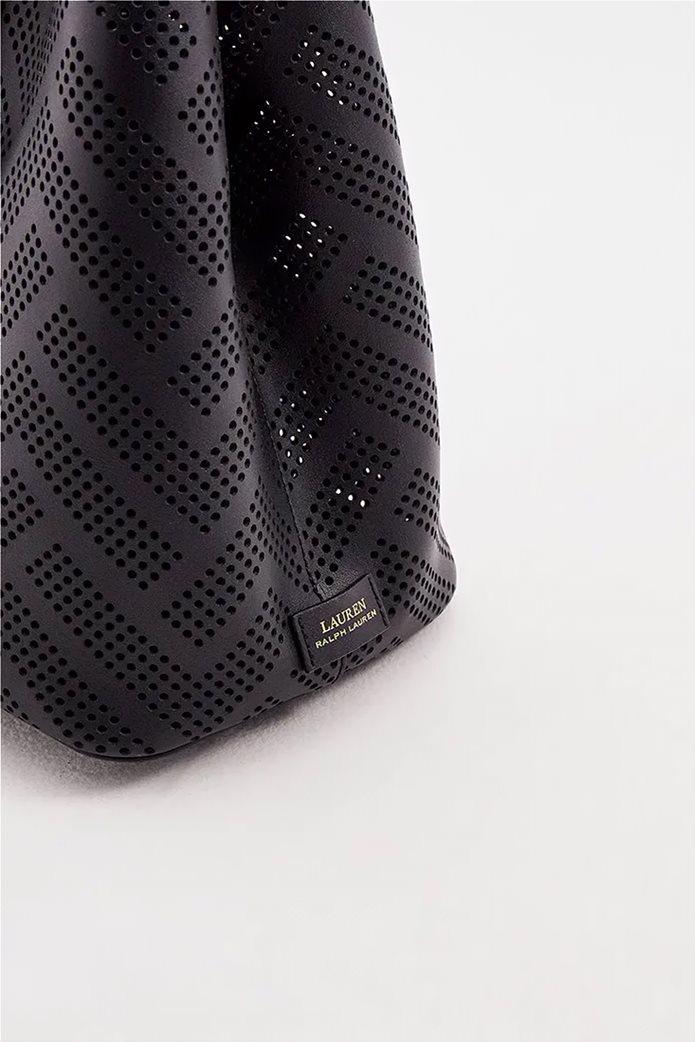 Lauren Ralph Lauren γυναικεία δερμάτινη τσάντα χειρός με διάτρητο σχέδιο Μαύρο 3