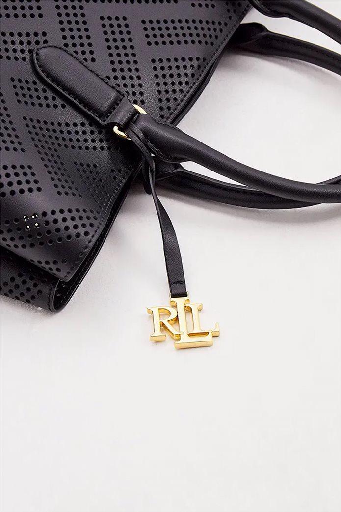 Lauren Ralph Lauren γυναικεία δερμάτινη τσάντα χειρός με διάτρητο σχέδιο Μαύρο 4