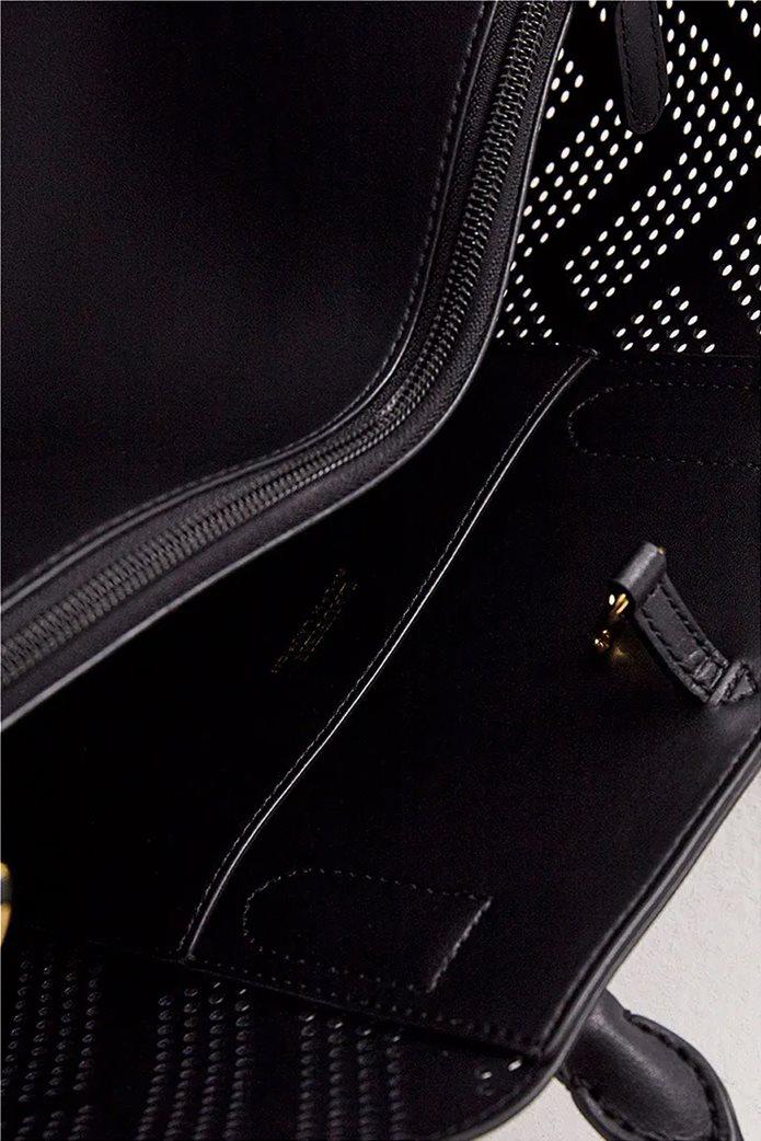Lauren Ralph Lauren γυναικεία δερμάτινη τσάντα χειρός με διάτρητο σχέδιο Μαύρο 5