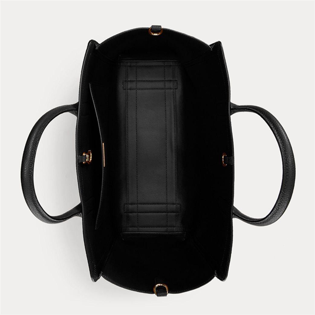 "Lauren Ralph Lauren γυναικεία δερμάτινη τσάντα χειρός ""Pebbled Large Tyler Tote"" Μαύρο 3"