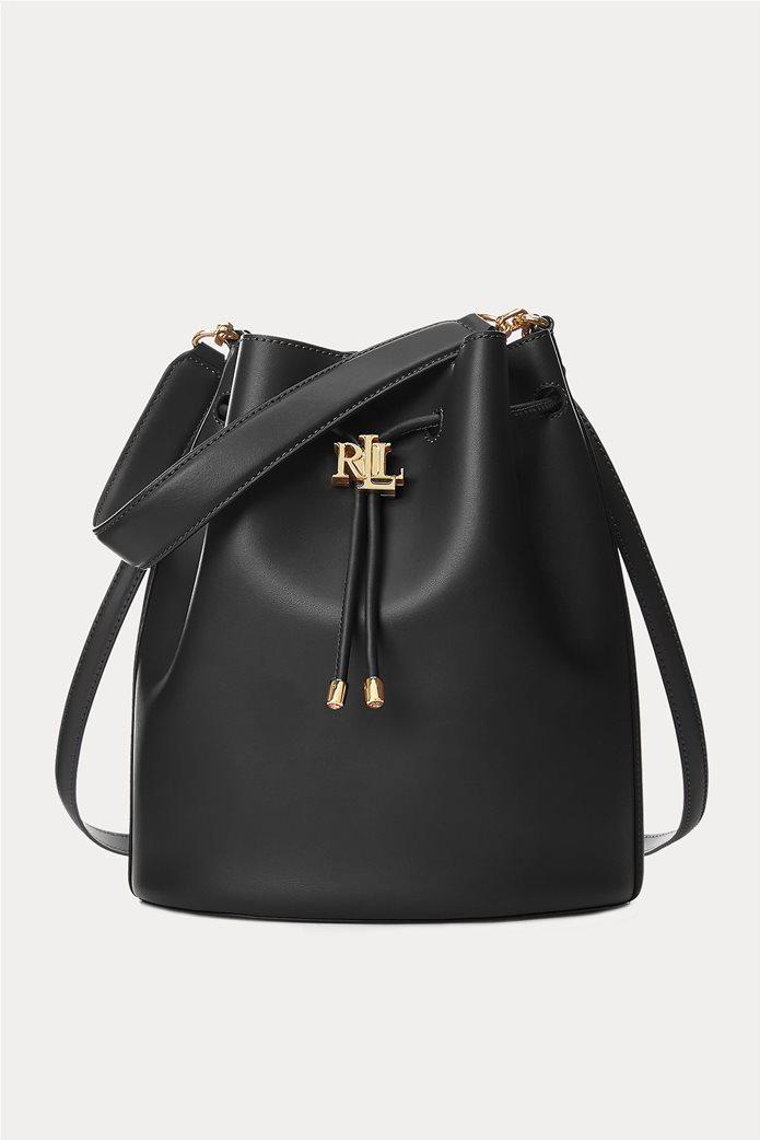 """Lauren Ralph Lauren γυναικεία δερμάτινη bucket τσάντα με logo print """"Large Andie"""" Μαύρο 0"""