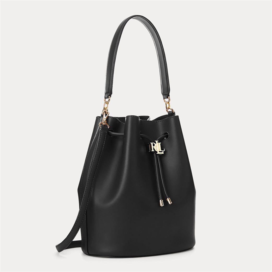 """Lauren Ralph Lauren γυναικεία δερμάτινη bucket τσάντα με logo print """"Large Andie"""" Μαύρο 1"""