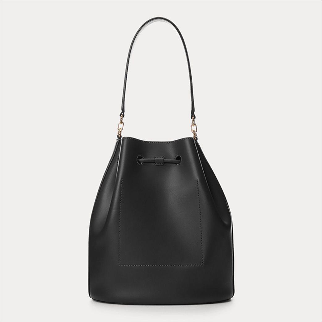 """Lauren Ralph Lauren γυναικεία δερμάτινη bucket τσάντα με logo print """"Large Andie"""" Μαύρο 2"""