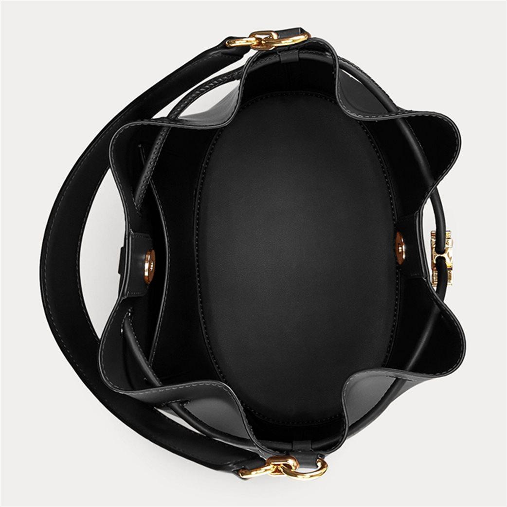 """Lauren Ralph Lauren γυναικεία δερμάτινη bucket τσάντα με logo print """"Large Andie"""" Μαύρο 3"""