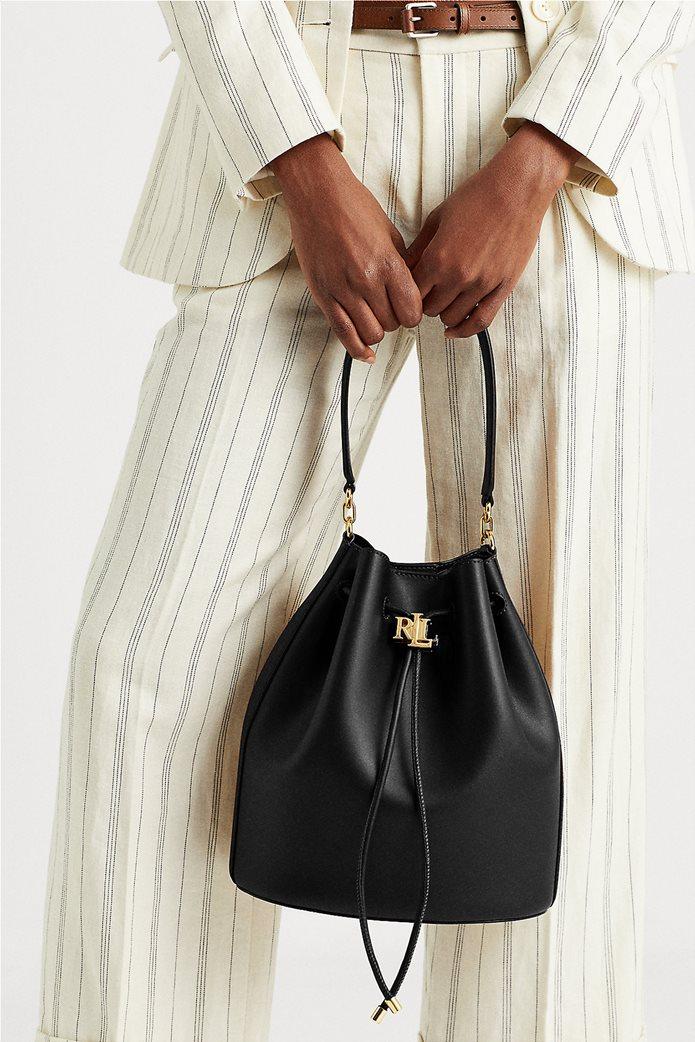 """Lauren Ralph Lauren γυναικεία δερμάτινη bucket τσάντα με logo print """"Large Andie"""" Μαύρο 5"""