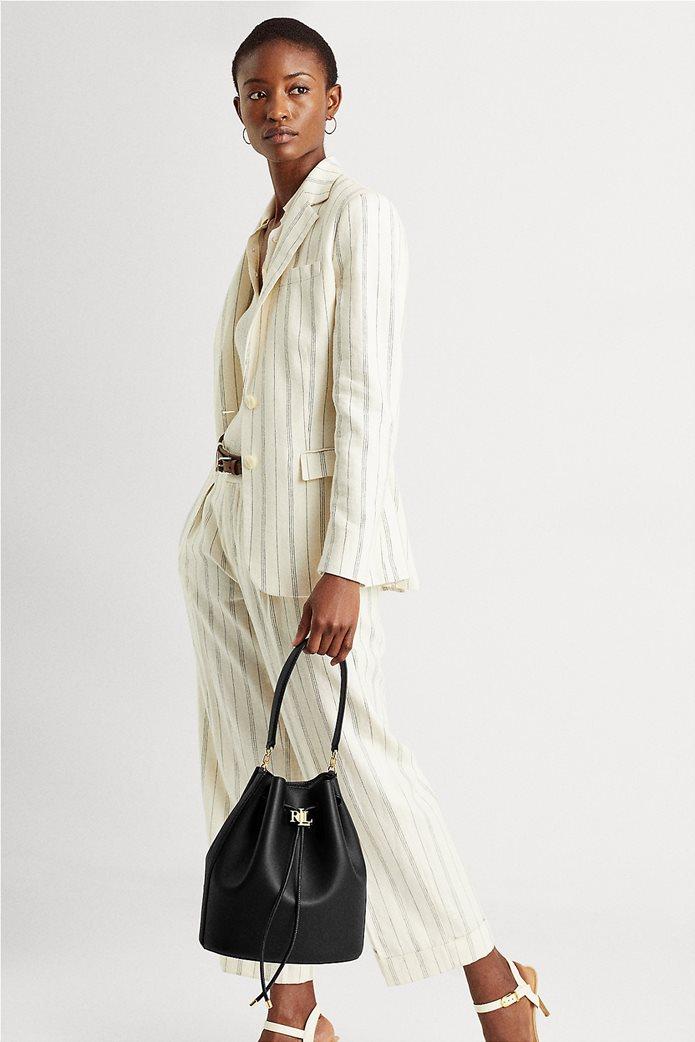 """Lauren Ralph Lauren γυναικεία δερμάτινη bucket τσάντα με logo print """"Large Andie"""" Μαύρο 6"""