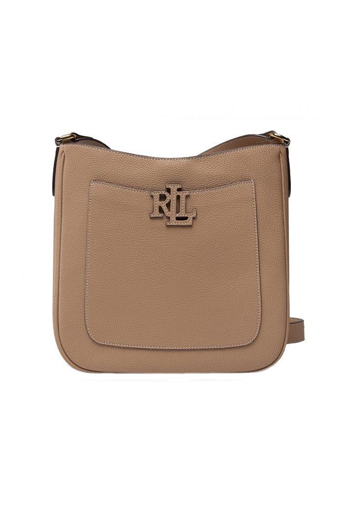 Lauren Ralph Lauren γυναικεία δερμάτινη crossbody τσάντα με ανάγλυφο λογότυπο Μπεζ 0