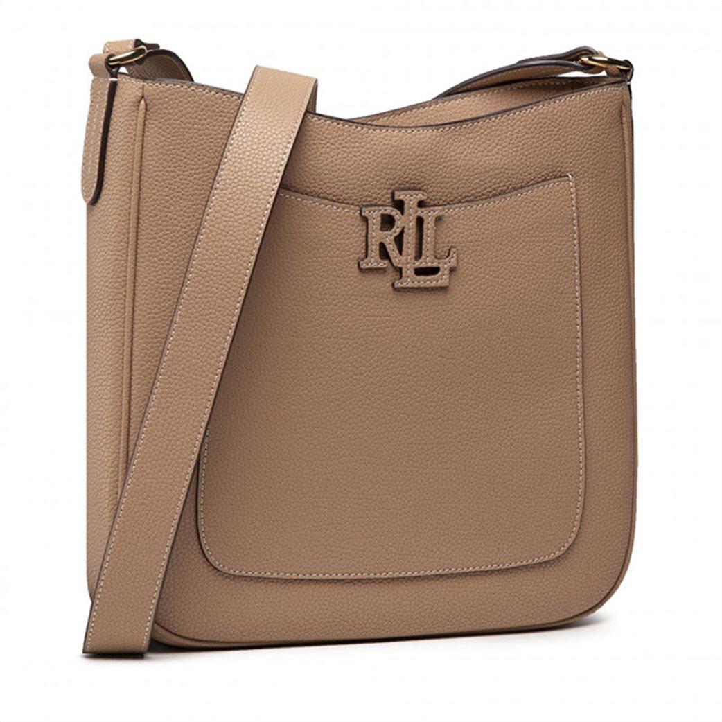 Lauren Ralph Lauren γυναικεία δερμάτινη crossbody τσάντα με ανάγλυφο λογότυπο Μπεζ 3
