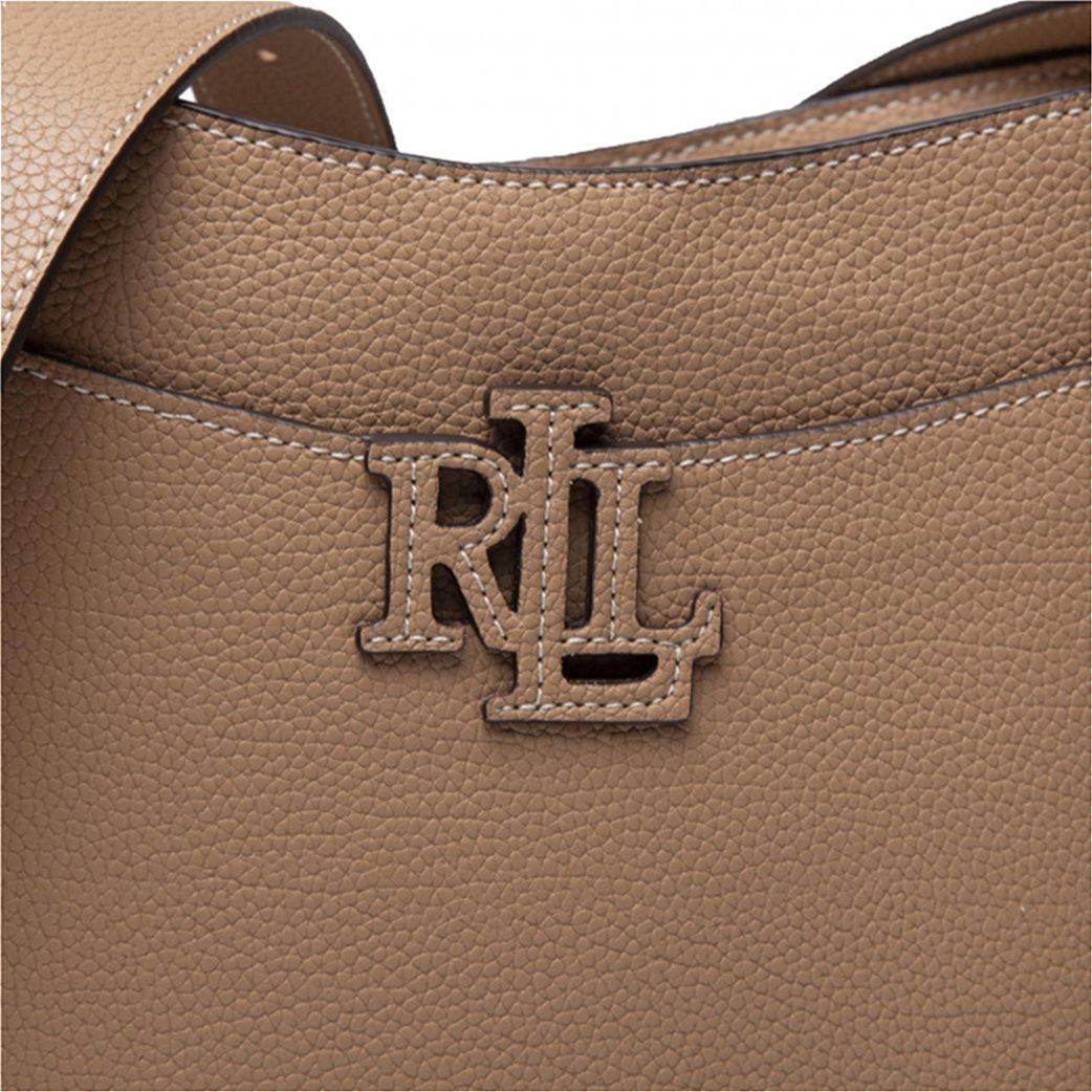 Lauren Ralph Lauren γυναικεία δερμάτινη crossbody τσάντα με ανάγλυφο λογότυπο Μπεζ 4