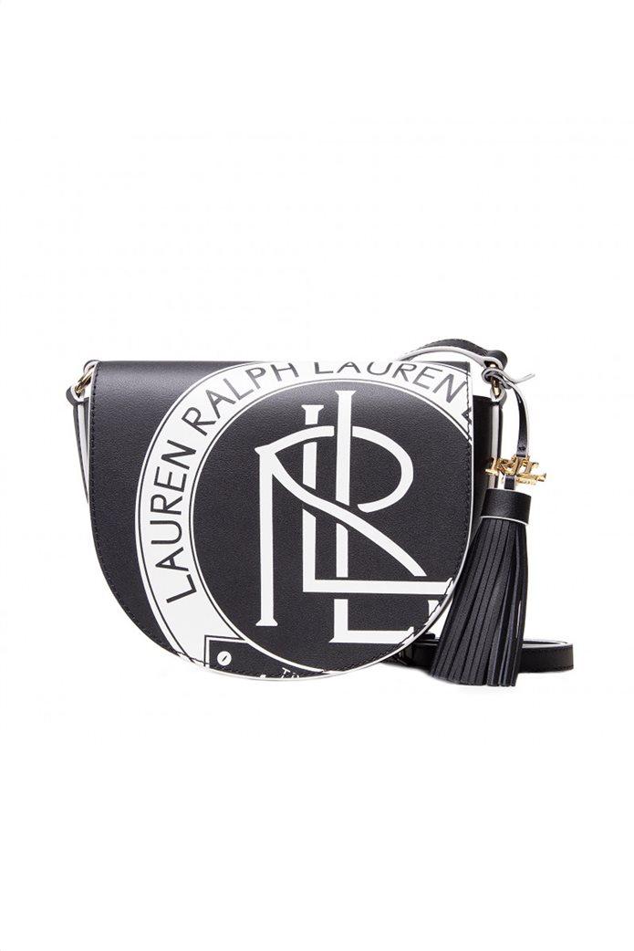 """Lauren Ralph Lauren γυναικεία δερμάτινη crossbody τσάντα με graphic print """"Witley"""" Μαύρο 0"""