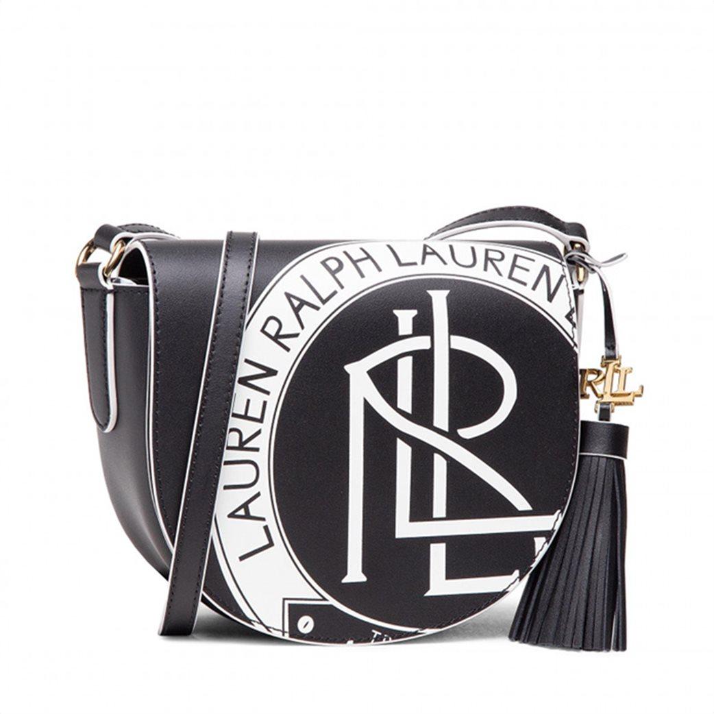 """Lauren Ralph Lauren γυναικεία δερμάτινη crossbody τσάντα με graphic print """"Witley"""" Μαύρο 1"""