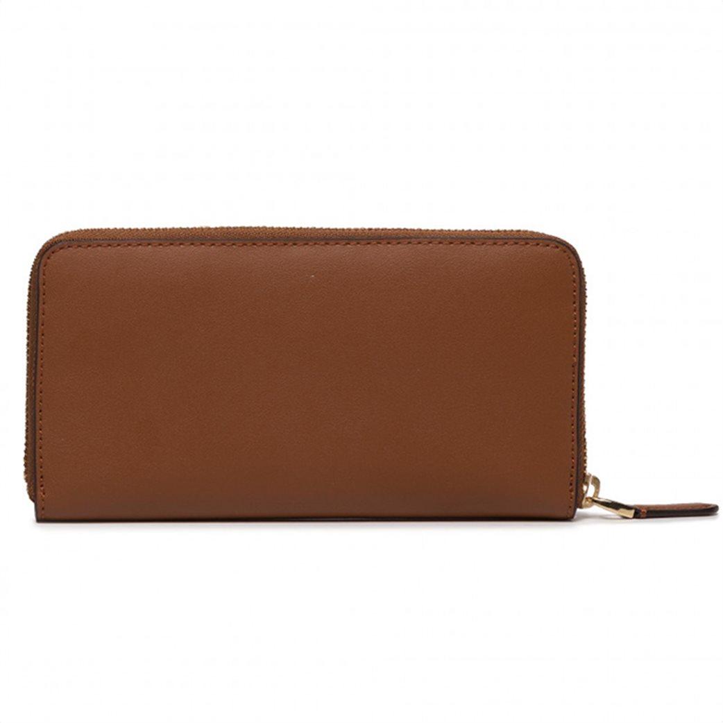 Lauren Ralph Lauren γυναικείo δερμάτινo πορτοφόλι με μεταλλικό λογότυπο Καφέ 1