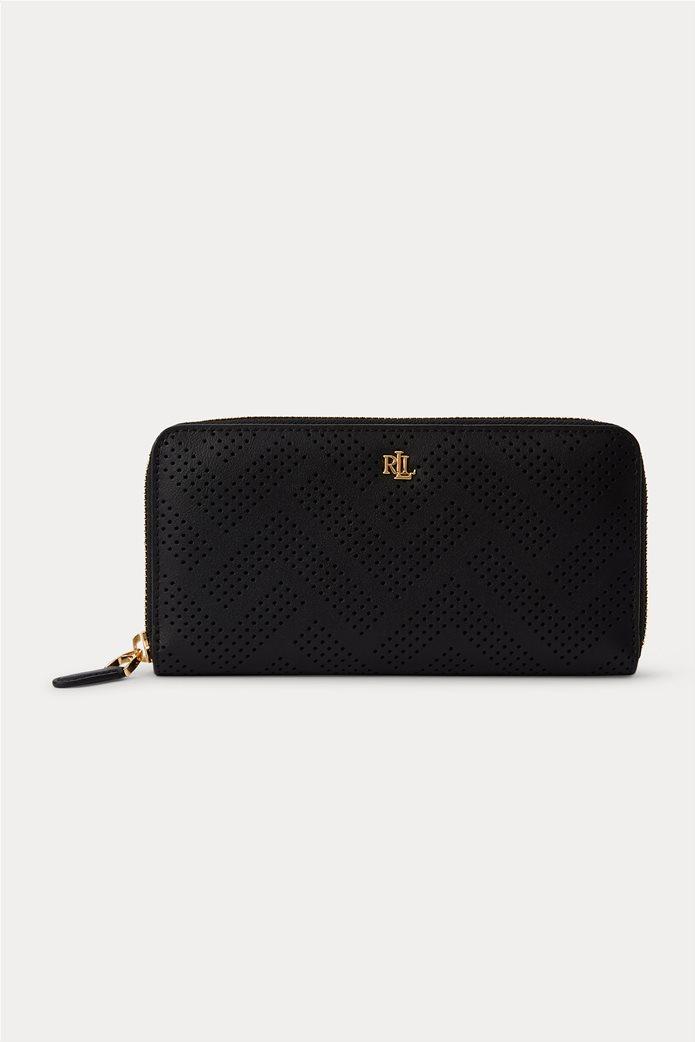 "Lauren Ralph Lauren γυναικείo δερμάτινo πορτοφόλι με διάτρητο σχέδιο ""Perforated Continental"" Μαύρο 0"