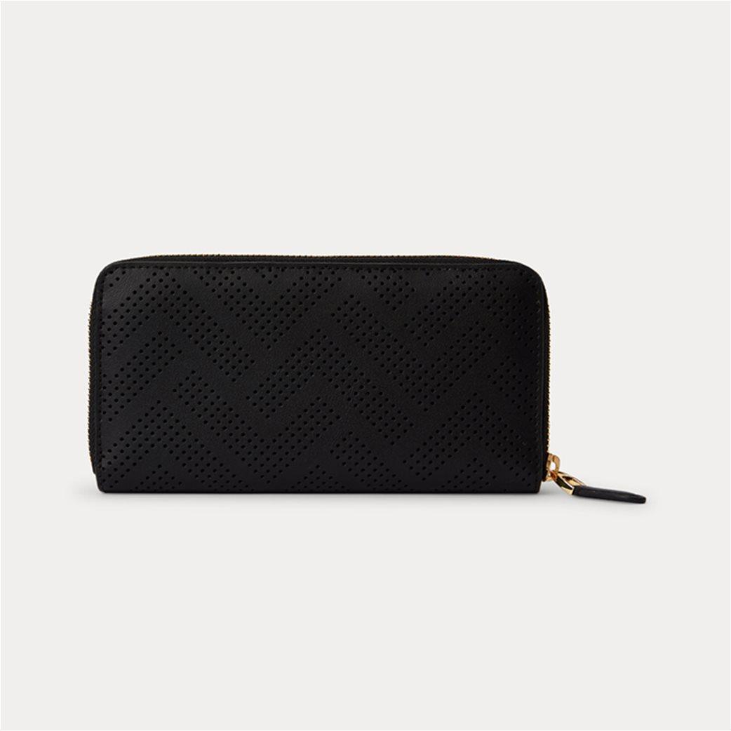 "Lauren Ralph Lauren γυναικείo δερμάτινo πορτοφόλι με διάτρητο σχέδιο ""Perforated Continental"" Μαύρο 1"