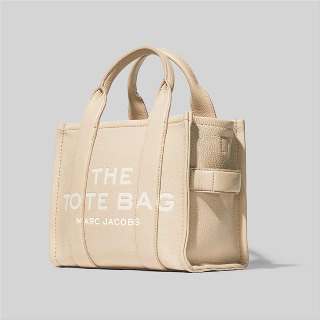 "Marc Jacobs γυναικεία δερμάτινη τσάντα χειρός με logo print ""The Mini Tote"" Μαύρο 2"