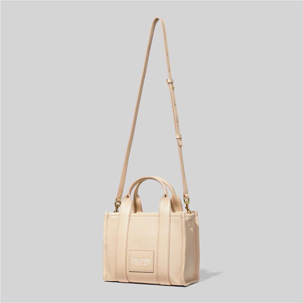 "Marc Jacobs γυναικεία δερμάτινη τσάντα χειρός με logo print ""The Mini Tote"" Μαύρο 3"
