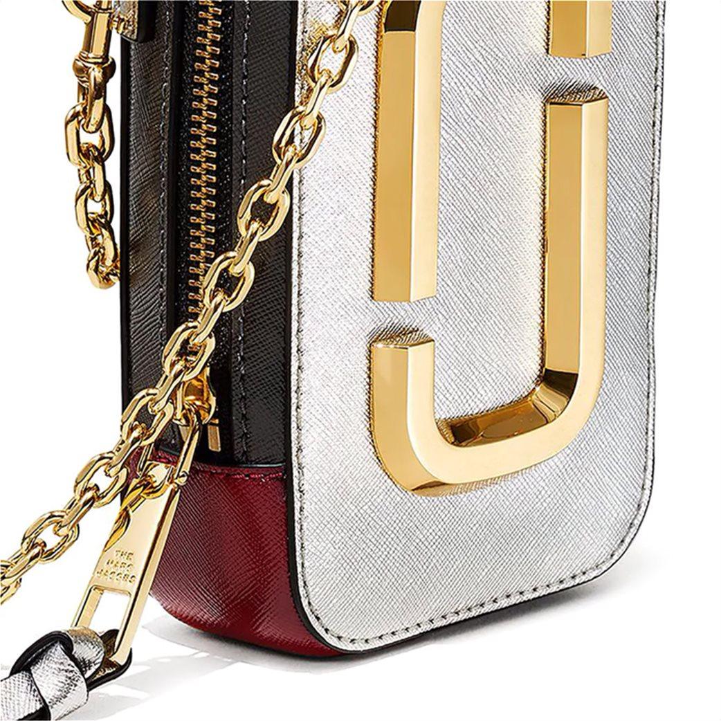 """Marc Jacobs γυναικείο δερμάτινο mini bag """"The Hot Shot"""" Ασημί 4"""