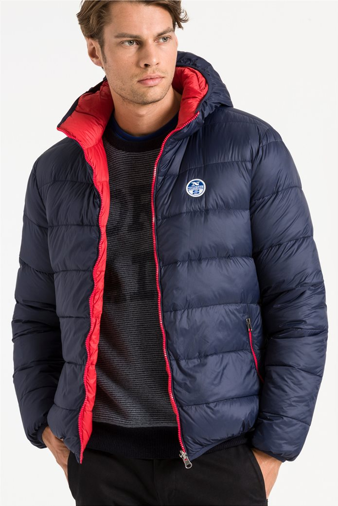North Sails ανδρικό μπουφάν καπιτονέ με κουκούλα διπλής όψης Reversible hooded jacket 0