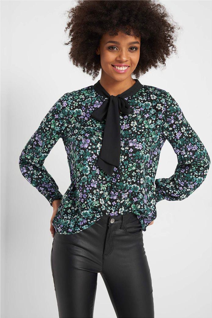 Orsay γυναικεία εμπριμέ μπλούζα με διακοσμητικό φιόγκο 0
