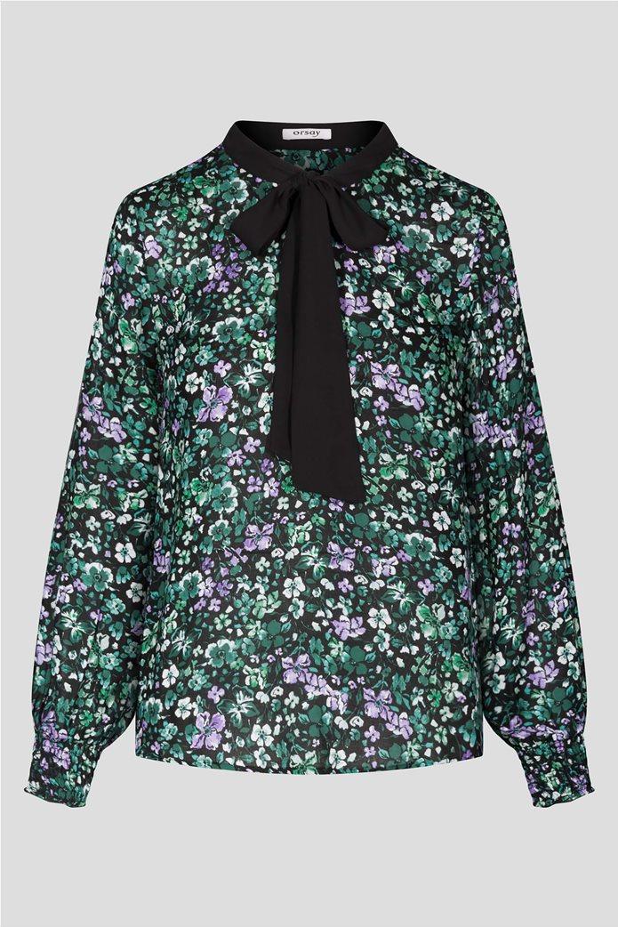 Orsay γυναικεία εμπριμέ μπλούζα με διακοσμητικό φιόγκο 4