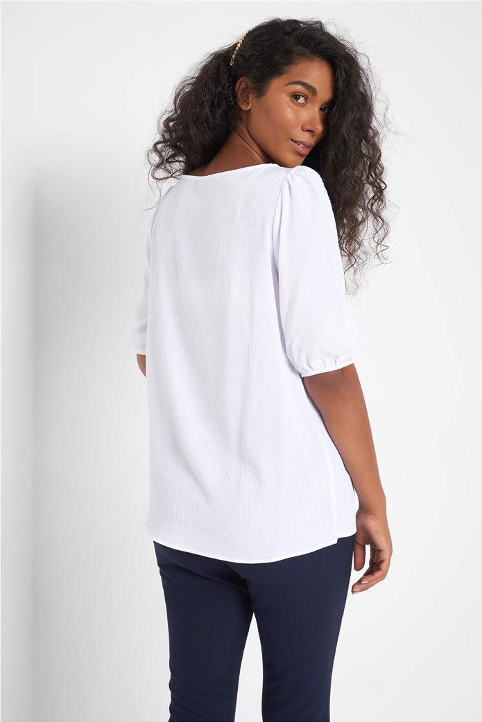 Orsay γυναικεία μπλούζα μονόχρωμη με ανάγλυφο σχέδιο 2