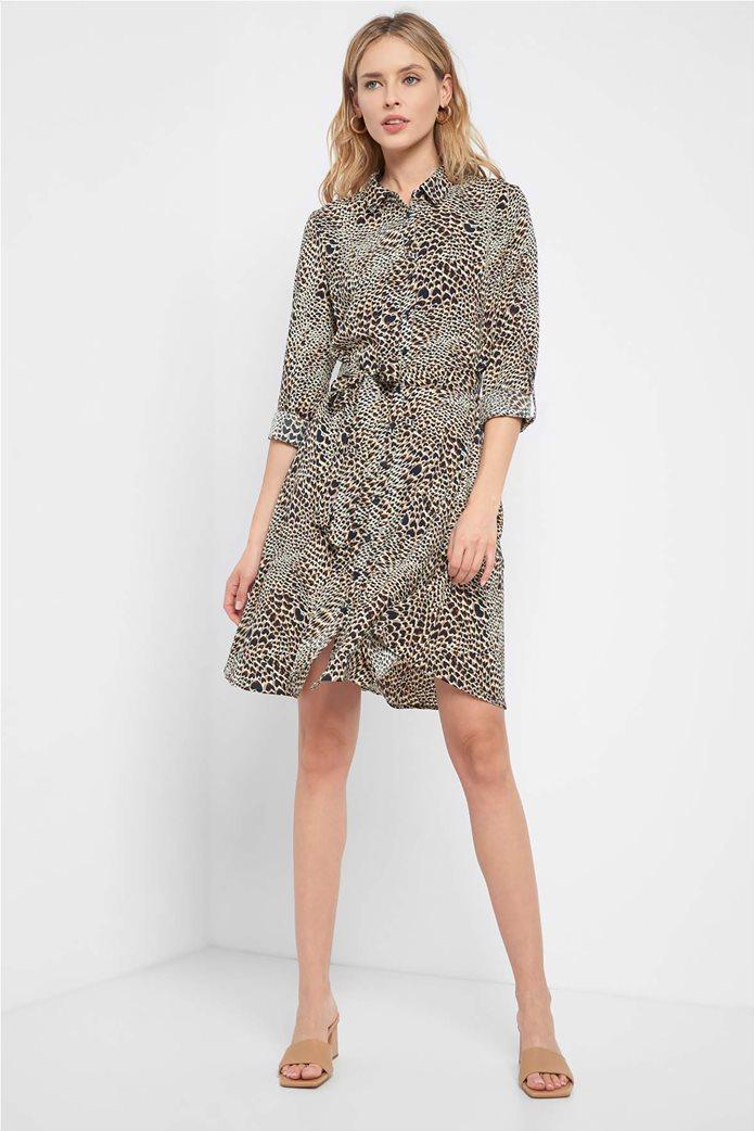 Orsay γυναικείο mini φόρεμα σεμιζιέ με animal print 0