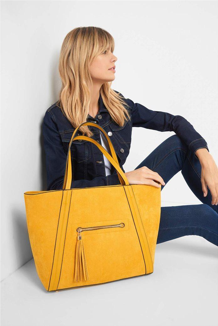 Orsay γυναικεία shopper bag suede με διακοσμητικά κρόσια 0