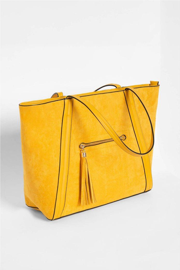 Orsay γυναικεία shopper bag suede με διακοσμητικά κρόσια 2