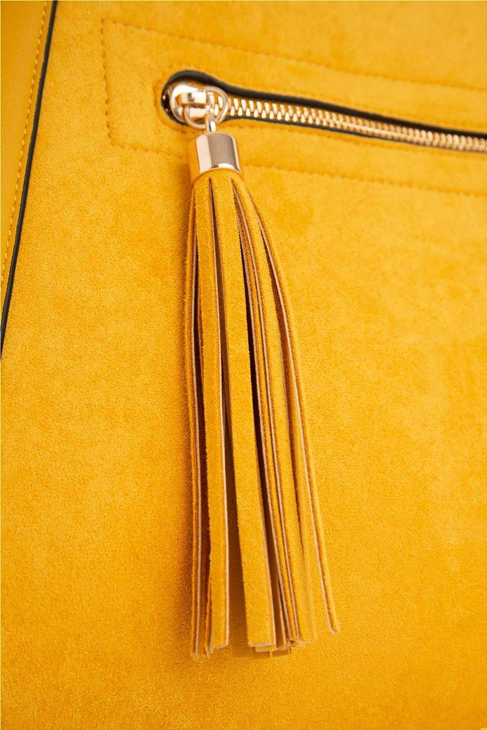 Orsay γυναικεία shopper bag suede με διακοσμητικά κρόσια 4