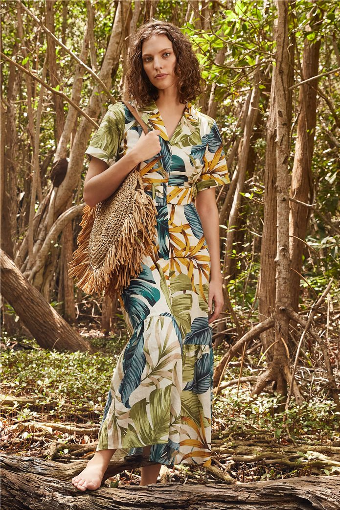 Orsay γυναικείο maxi φόρεμα σεμιζιέ με εμπριμέ print Λευκό 0